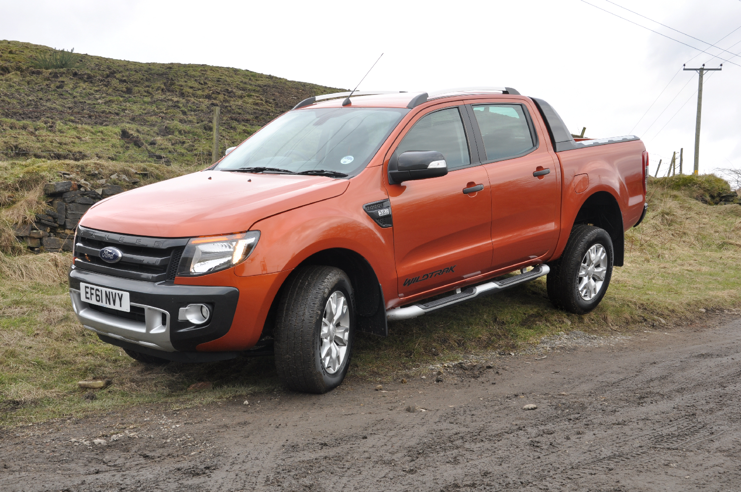 2012 Ford Ranger Wildtrak 3-2 diesel automatic road test review by Oliver Hammond photo - front Ridge Hill 6