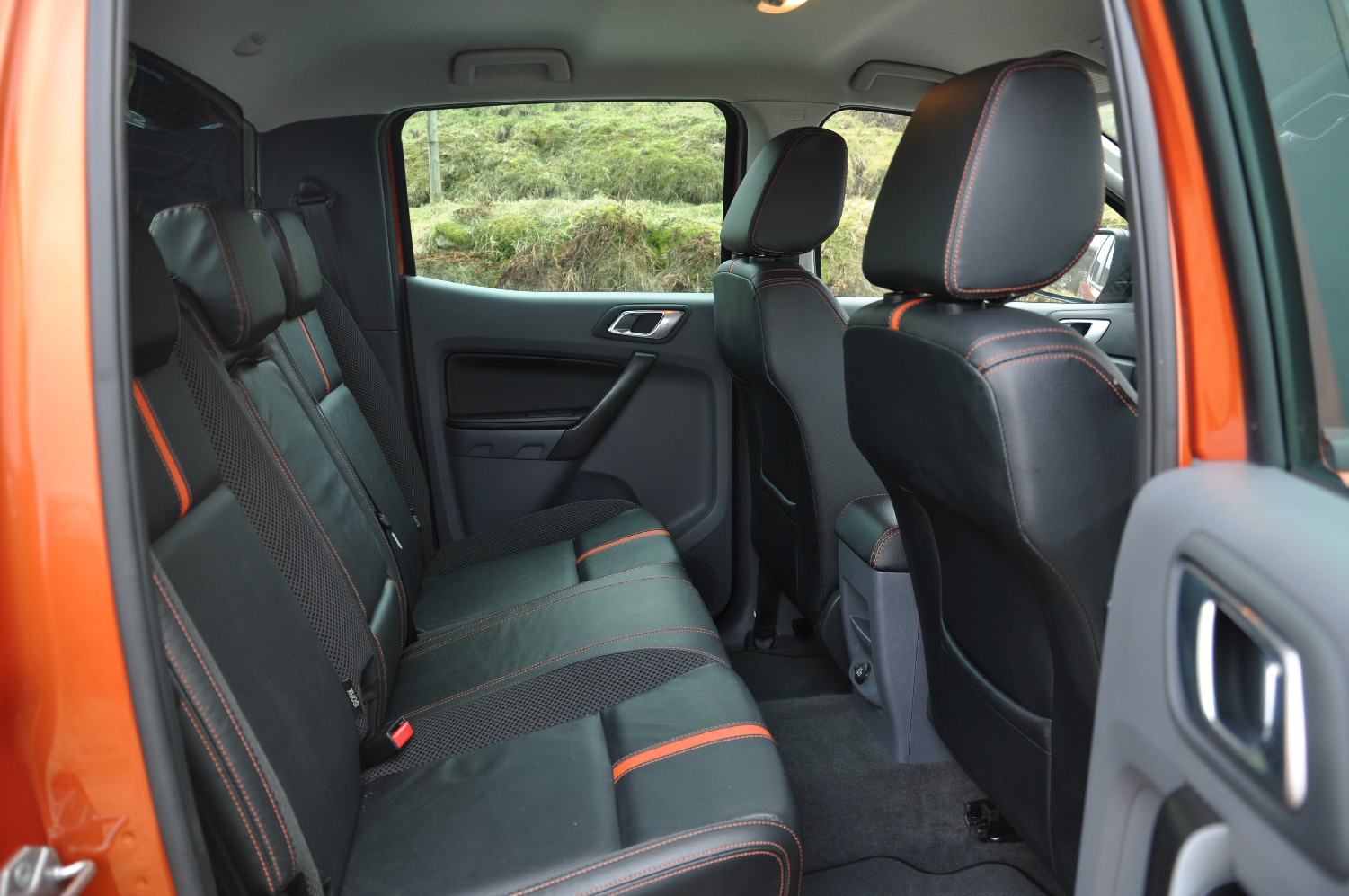 2012 Ford Ranger Wildtrak 3-2 diesel automatic road test review by Oliver Hammond photo - rear seats double cab